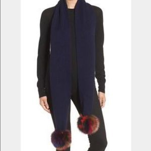 Jocelyn Navy Knit Scarf Fox Fur Pom Pom Long Scarf